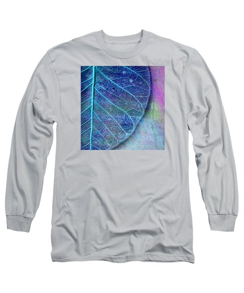 Blue Skeletal Leaf Long Sleeve T-Shirt