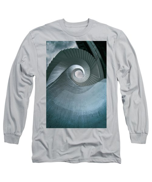 Long Sleeve T-Shirt featuring the photograph Blue Spiral Stairs by Jaroslaw Blaminsky