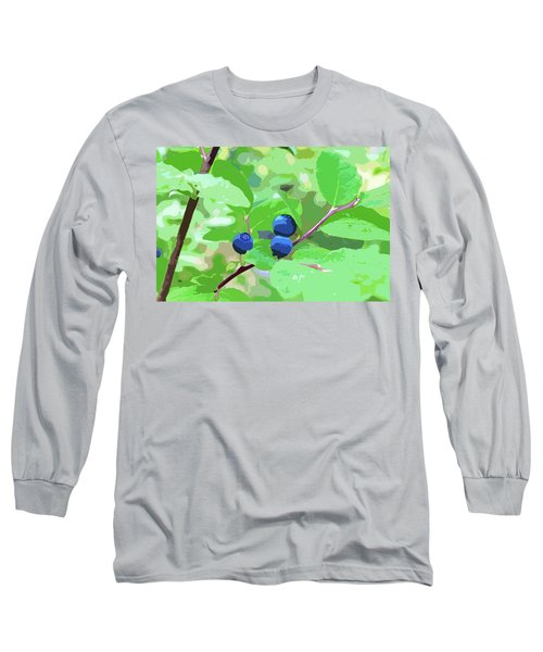 Blueberries Halftone Long Sleeve T-Shirt by Cathy Mahnke