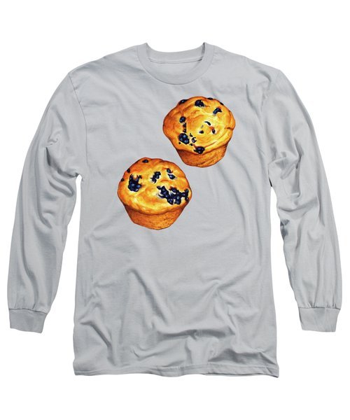 Blueberry Muffin Pattern Long Sleeve T-Shirt by Kelly Gilleran