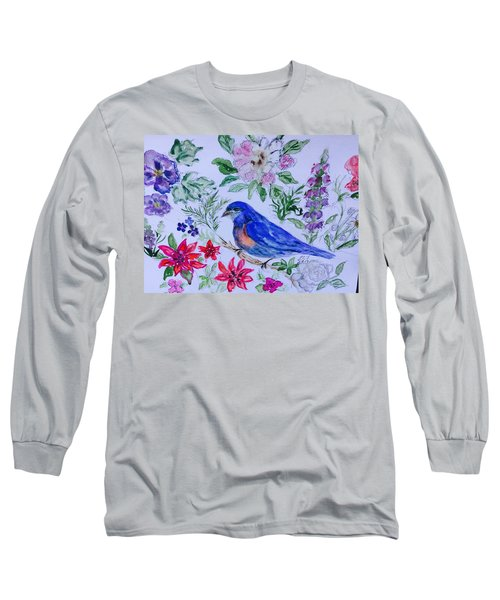 Bluebird In A Garden Long Sleeve T-Shirt