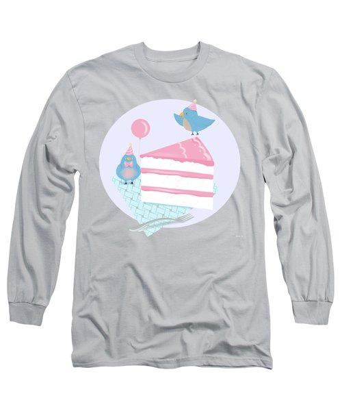 Bluebirds Love Birthday Cake Long Sleeve T-Shirt