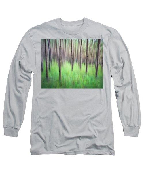 Blurred Aspen Trees Long Sleeve T-Shirt