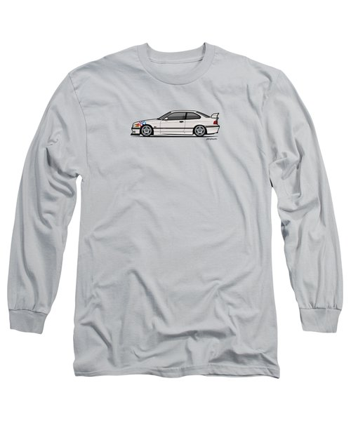 Bmw 3 Series E36 M3 Coupe Lightweight White With Checkered Flag Long Sleeve T-Shirt