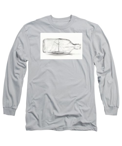Long Sleeve T-Shirt featuring the drawing Boat Stuck In A Bottle by Meagan  Visser