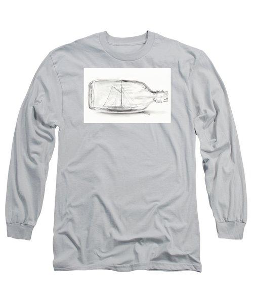 Boat Stuck In A Bottle Long Sleeve T-Shirt by Meagan  Visser