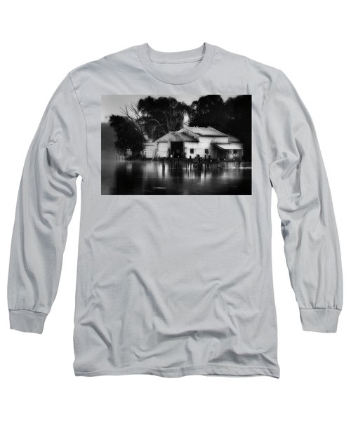 Long Sleeve T-Shirt featuring the photograph Boathouse Bw by Bill Wakeley