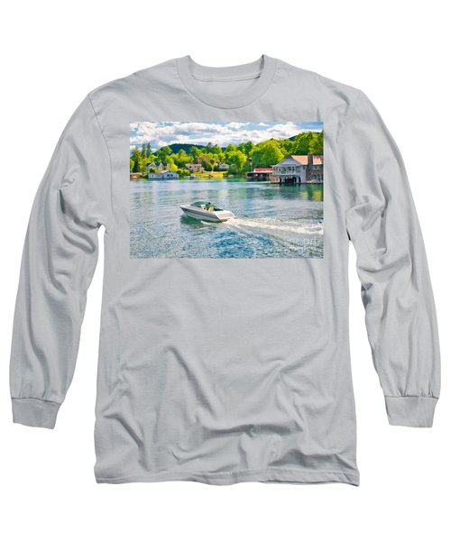 Boating Lake George New York Long Sleeve T-Shirt
