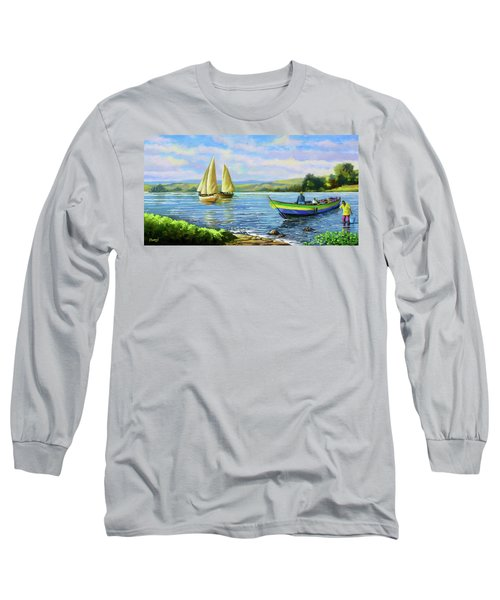 Long Sleeve T-Shirt featuring the painting Boats At Lake Victoria by Anthony Mwangi