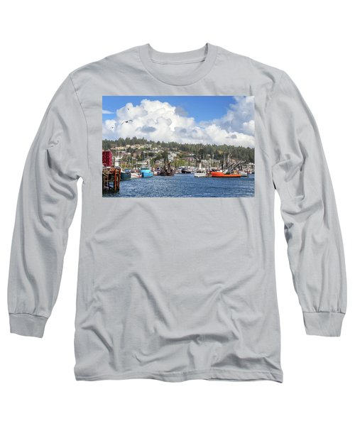 Boats In Yaquina Bay Long Sleeve T-Shirt by James Eddy