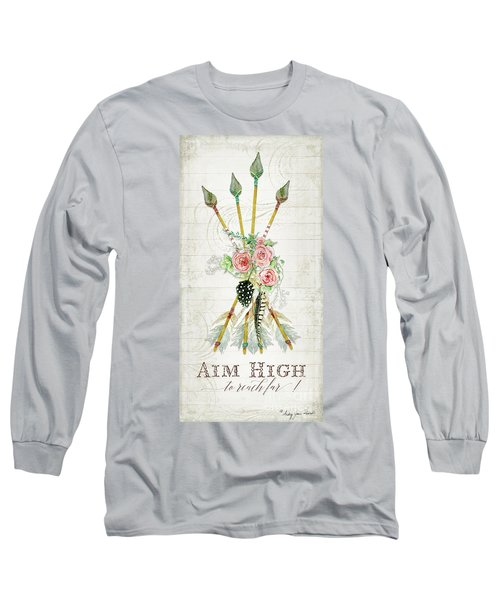 Long Sleeve T-Shirt featuring the painting Boho Western Arrows N Feathers W Wood Macrame Feathers And Roses Aim High by Audrey Jeanne Roberts