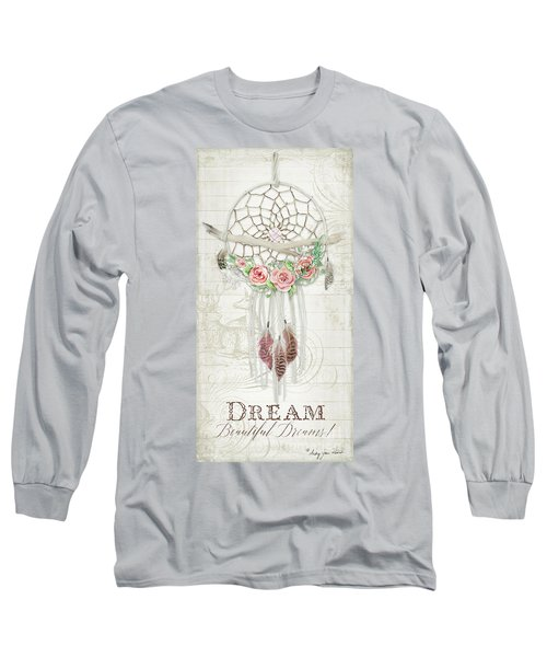 Long Sleeve T-Shirt featuring the painting Boho Western Dream Catcher W Wood Macrame Feathers And Roses Dream Beautiful Dreams by Audrey Jeanne Roberts