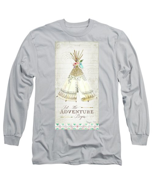Long Sleeve T-Shirt featuring the painting Boho Western Teepee With Arrows N Feathers W Wood Tribal Border by Audrey Jeanne Roberts
