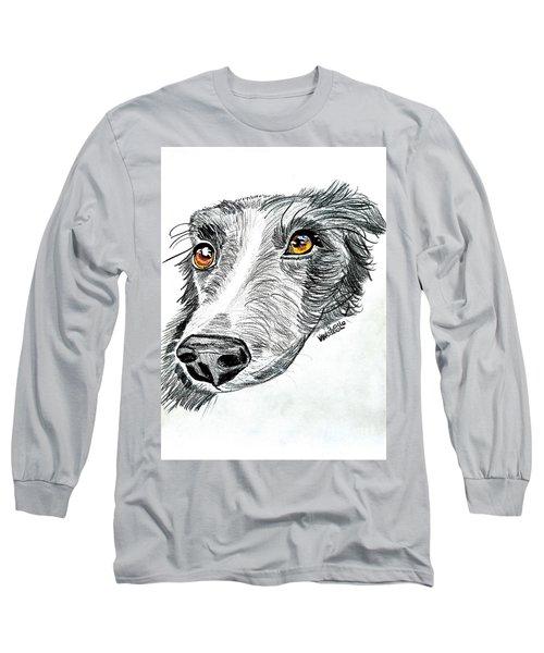 Border Collie Dog Colored Pencil Long Sleeve T-Shirt by Scott D Van Osdol