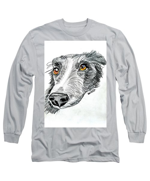 Border Collie Dog Colored Pencil Long Sleeve T-Shirt