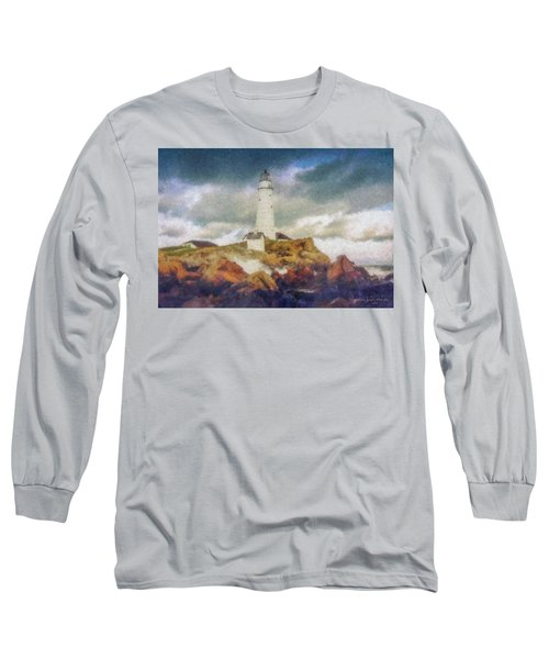 Boston Light On A Stormy Day Long Sleeve T-Shirt