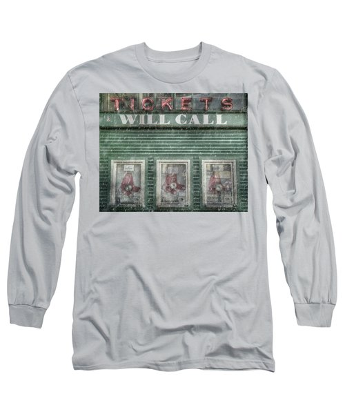 Long Sleeve T-Shirt featuring the photograph Boston Red Sox Fenway Park Ticket Booth In Winter by Joann Vitali