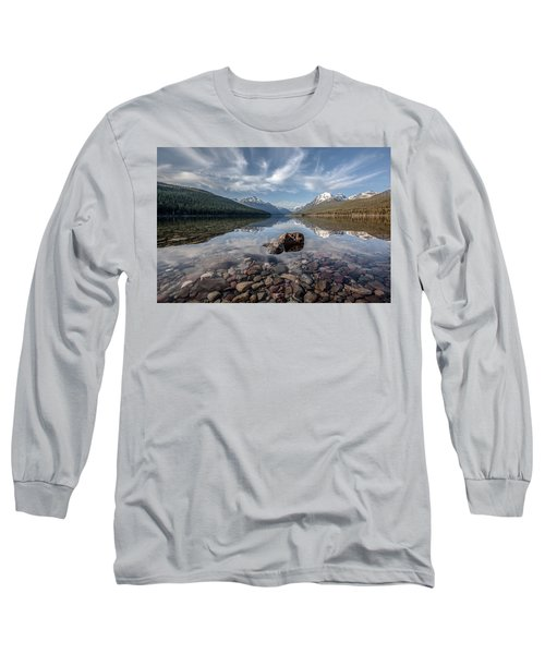 Long Sleeve T-Shirt featuring the photograph Bowman Lake Rocks by Aaron Aldrich