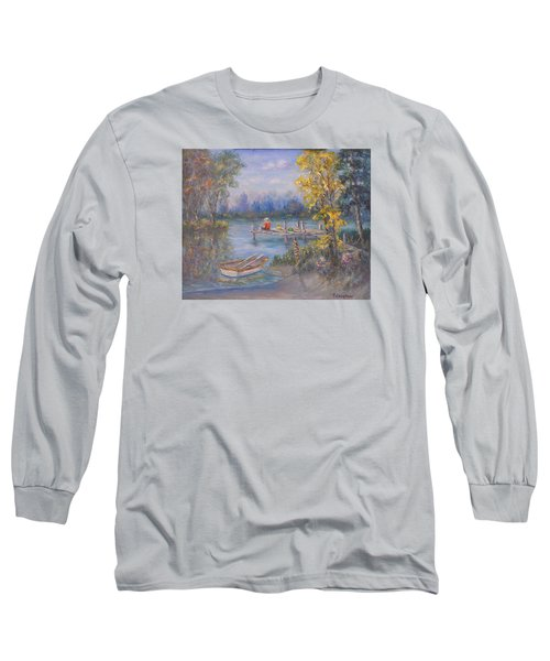 Boy Fishing On Dock And Boat On Lake Long Sleeve T-Shirt