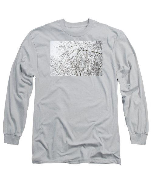 Branches Weighted With Snow Long Sleeve T-Shirt by Deborah Smolinske