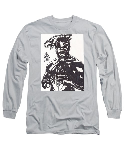 Long Sleeve T-Shirt featuring the drawing Brian Westbrook by Jeremiah Colley
