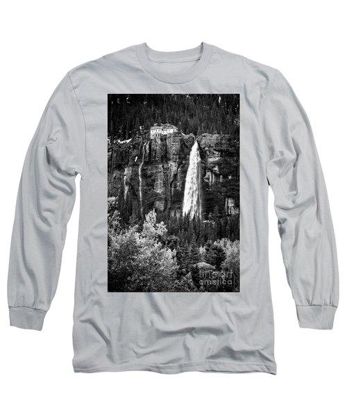 Bridal Veil Falls In Bw Long Sleeve T-Shirt