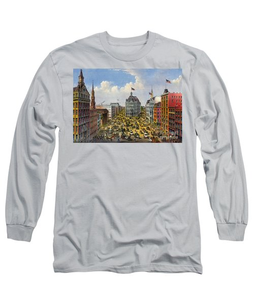 Broadway New York City 1875 Long Sleeve T-Shirt by Padre Art