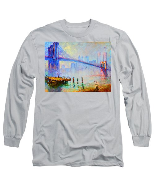 Brooklyn Bridge In A Foggy Morning Long Sleeve T-Shirt by Ylli Haruni
