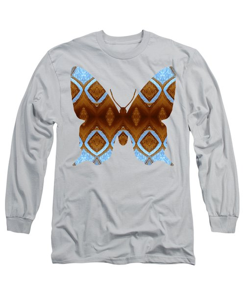 Long Sleeve T-Shirt featuring the digital art Brown And Blue Butterfly by Rachel Hannah