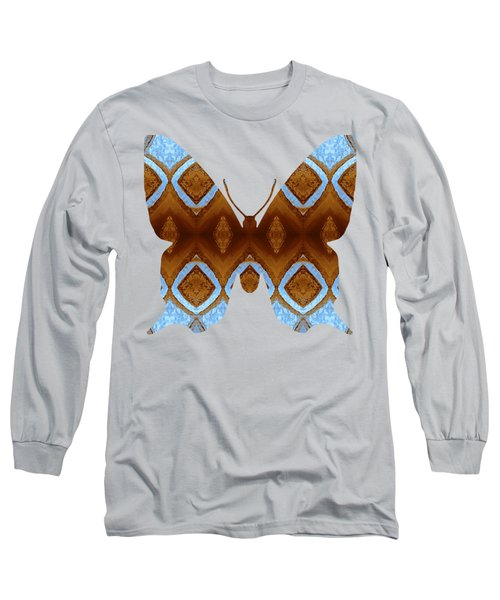 Brown And Blue Butterfly Long Sleeve T-Shirt