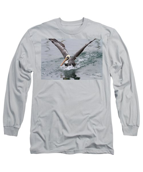 Brown Pelican Landing On Water . 7d8372 Long Sleeve T-Shirt