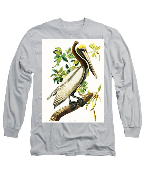 Brown Pelican Long Sleeve T-Shirt by Pg Reproductions
