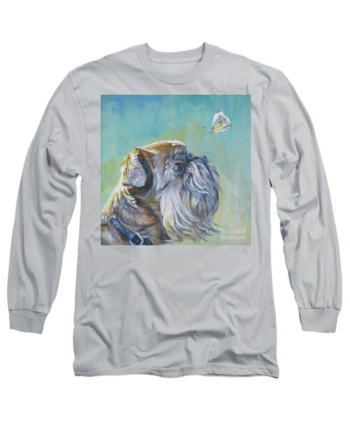 Brussels Griffon With Butterfly Long Sleeve T-Shirt