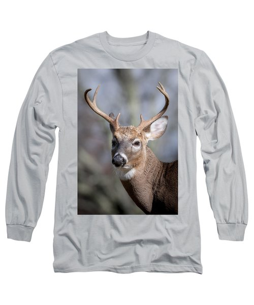 Long Sleeve T-Shirt featuring the photograph Buck Headshot by Tyson and Kathy Smith