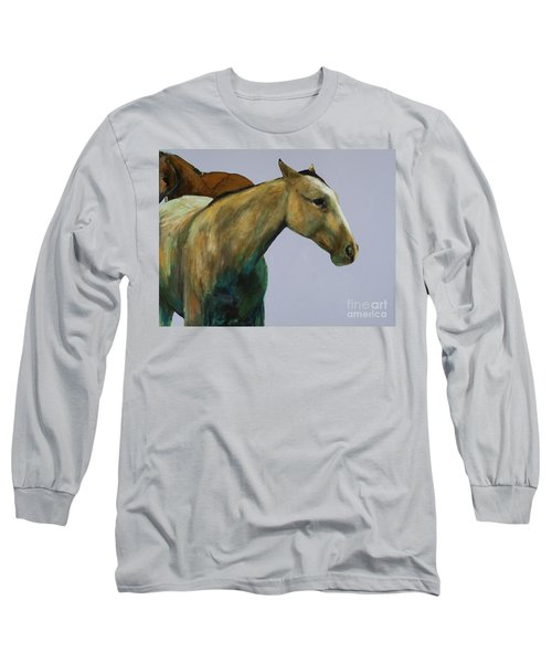 Long Sleeve T-Shirt featuring the painting Buckskin by Frances Marino