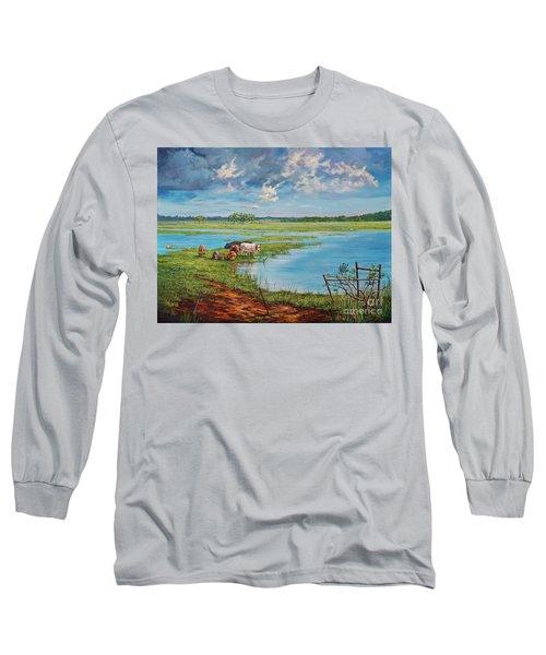 Long Sleeve T-Shirt featuring the painting Bucolic St. John's by AnnaJo Vahle