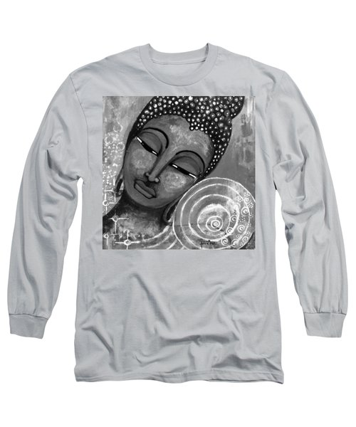 Long Sleeve T-Shirt featuring the mixed media Buddha In Grey Tones by Prerna Poojara