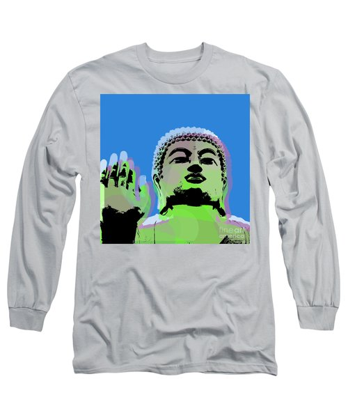 Long Sleeve T-Shirt featuring the digital art Buddha Warhol Style by Jean luc Comperat