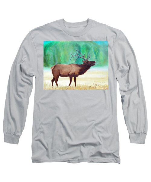 Long Sleeve T-Shirt featuring the painting Bugling Elk by Sherril Porter