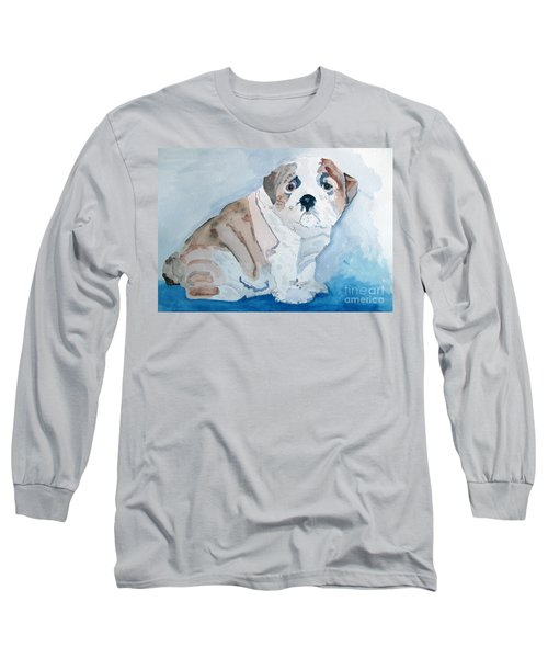 Bulldog Puppy Long Sleeve T-Shirt by Sandy McIntire