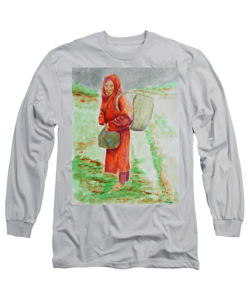 Bundled And Barefoot -- Portrait Of Old Asian Woman Outdoors Long Sleeve T-Shirt