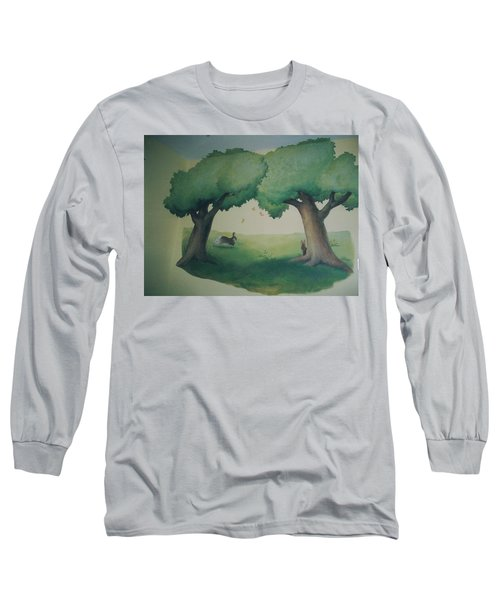 Bunnies Running Under Trees Long Sleeve T-Shirt