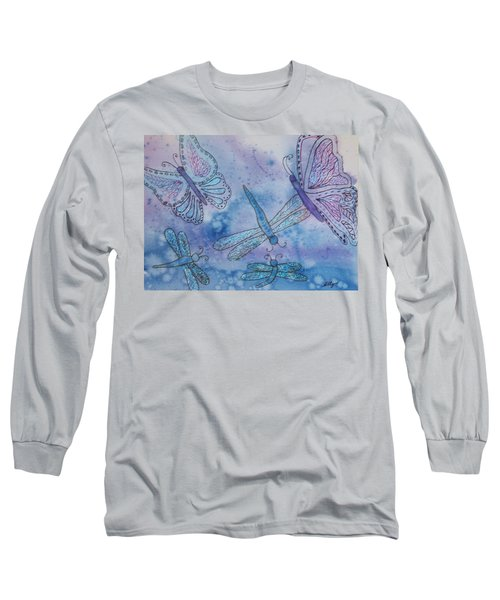 Long Sleeve T-Shirt featuring the painting Butterflies And Dragonflies by Ellen Levinson