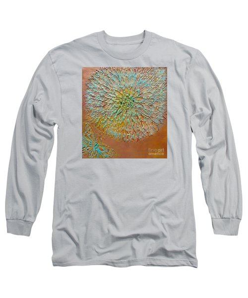 Butterfly And Flower Happy Long Sleeve T-Shirt