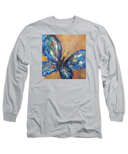 Butterfly Blue Long Sleeve T-Shirt