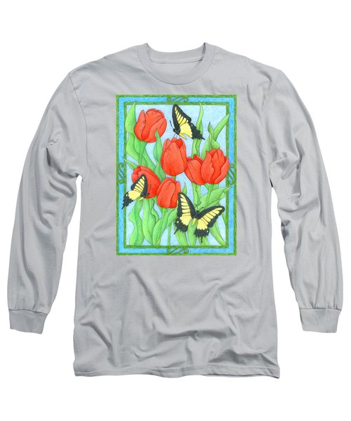 Butterfly Idyll-tulips Long Sleeve T-Shirt