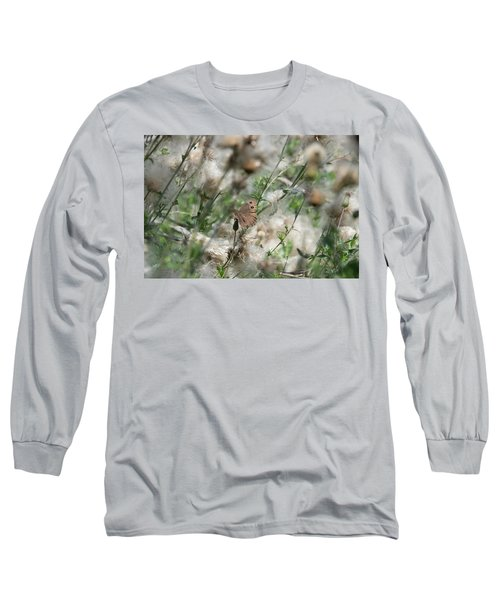 Butterfly In Puffy Seed Heads Long Sleeve T-Shirt