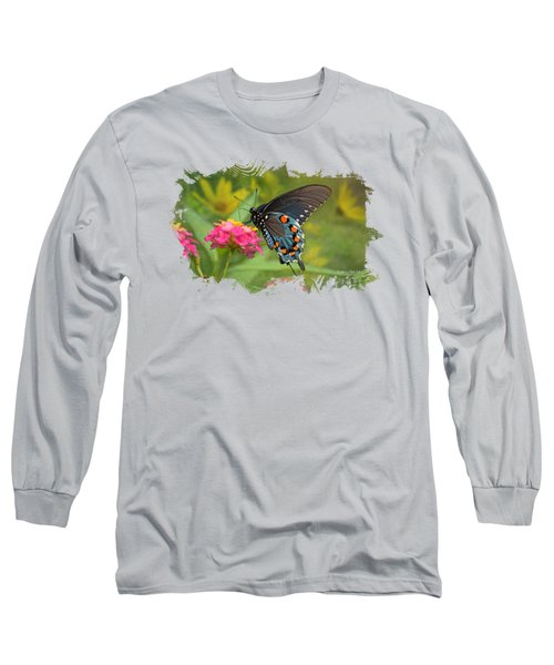 Butterfly On Lantana - Tee Shirt Design Long Sleeve T-Shirt by Debbie Portwood
