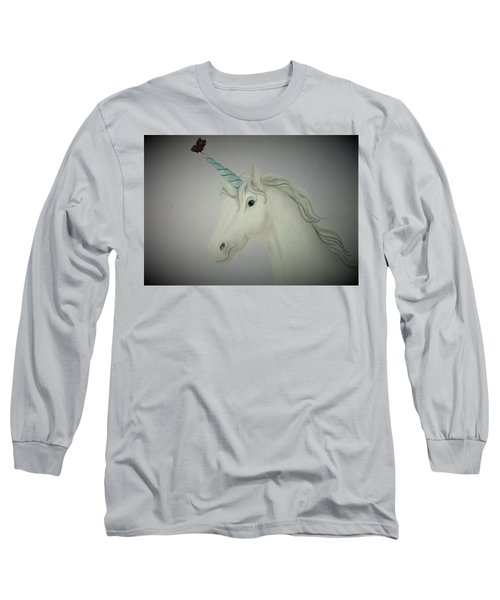 Butterfly Resting On Unicorn Long Sleeve T-Shirt