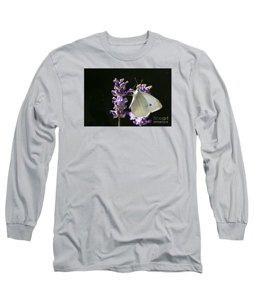 Long Sleeve T-Shirt featuring the photograph Cabbage White Butterfly On Lavender by Inge Riis McDonald